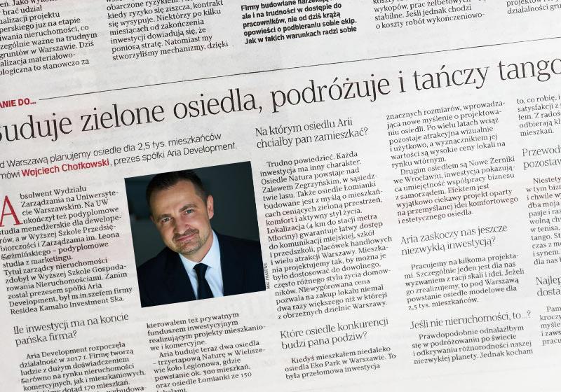 Wojciech Chotkowski, prezes zarządu ARIA Development w Rzeczpospolitej